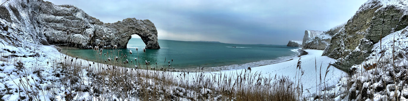 Durdle Door in the snow