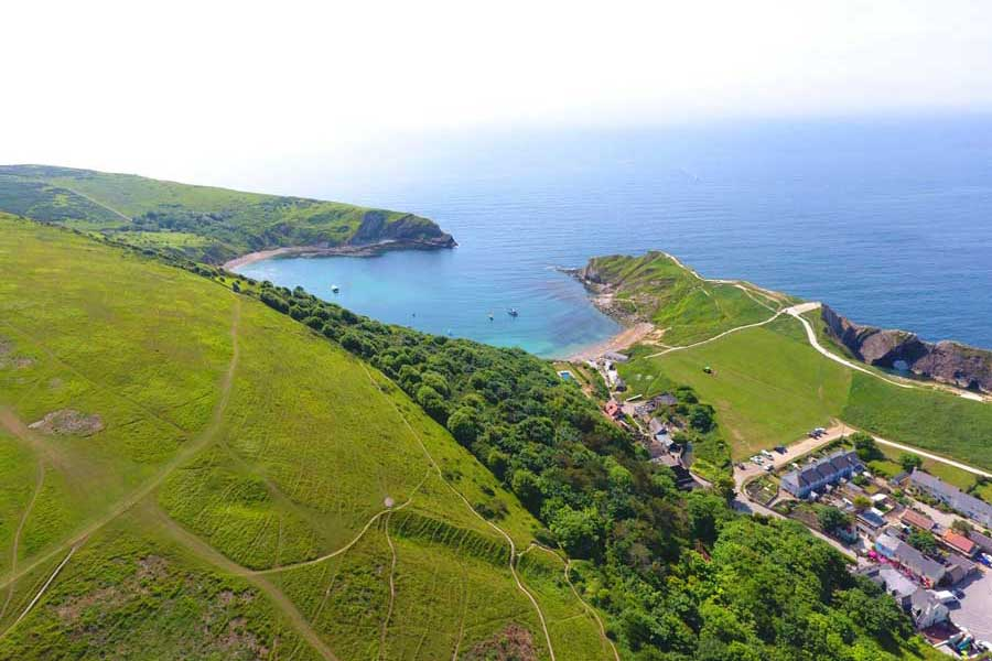 Drone View Lulworth Cove